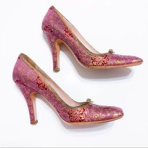 Prada Floral Embroidered Box Toe Heels Size 9